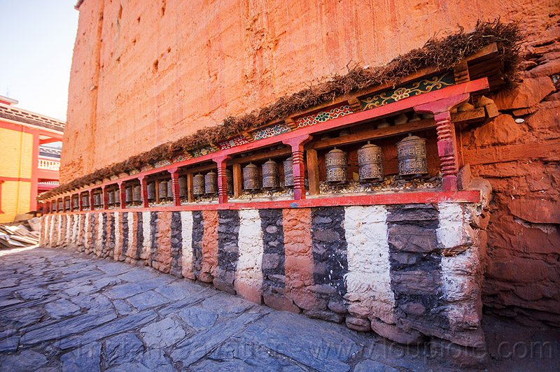 prayer wheels at kagbeni gompa - tibetan buddhist monastery (nepal), annapurnas, buddhism, gompa, kagbeni, kali gandaki valley, monastery, prayer mills, prayer wheels, tibetan, village
