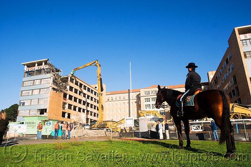 presidio park police officer irma and her horse - mounted police - building demolition - PHSH - abandoned hospital (presidio, san francisco), abandoned building, abandoned hospital, building demolition, horse, horseback riding, irma, law enforcement, mounted police, presidio hospital, presidio landmark apartments, uniform, us park police