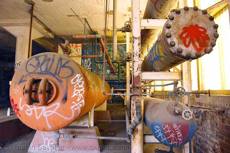 pressure tanks in abandoned factory (san francisco), cylinders, derelict, graffiti, pipes, rusty, street art, tie's warehouse, trespassing