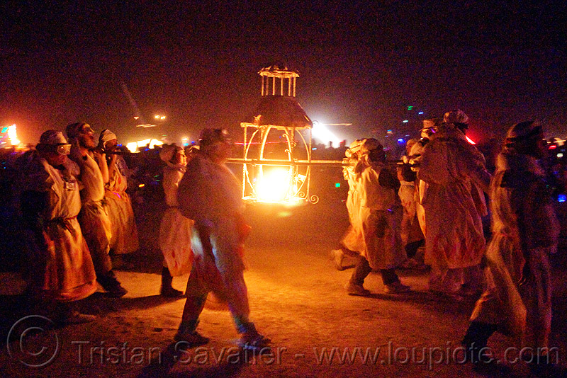 procession ceremonial flame - burning man 2009, burning man, fire, night of the burn, procession ceremonial flame