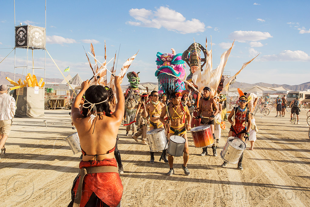procession of the mazu marching band - burning man 2016, brazilian drums, burning man, drummers, marching band, mazu camp, samba reggae
