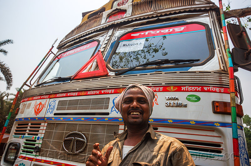 proud sikh truck driver with his truck (india), lorry, man, sikh, tata motors, truck driver