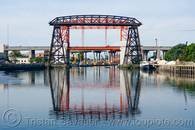 puente transbordador, bridges, buenos aires, la boca, movable bridge, puente transbordador, reflection, riachuelo, río la matanza, río matanza, transporter bridge, vertical lift bridge, water