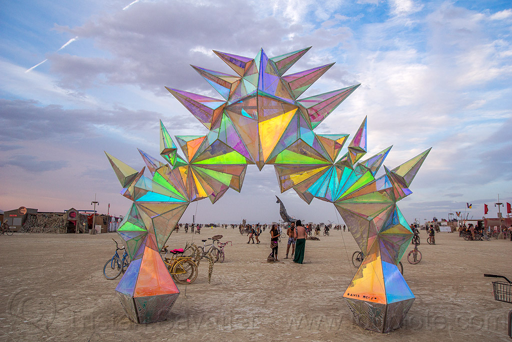 pulse portal at dusk - burning man 2016, arch, art installation, burning man, iridescent, pulse portal, sculpture