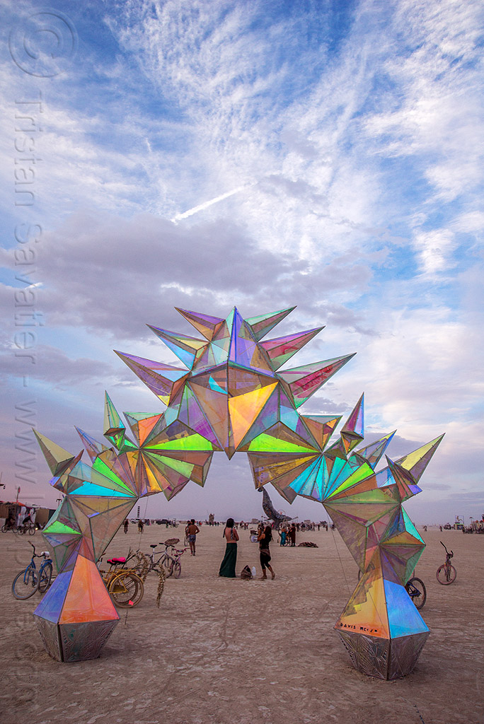 pulse portal - burning man 2016, arch, art installation, burning man, iridescent, pulse portal, sculpture