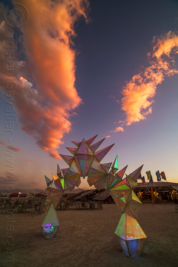 pulse portal with pink clouds - burning man 2016, arch, art installation, burning man, dusk, iridescent, pink clouds, pulse portal, sculpture