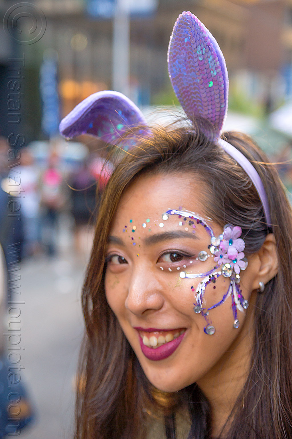 purple bunny ears headband - face paint - how weird street faire (san francisco), bunny ears, face paint, face painting, headband, purple, woman