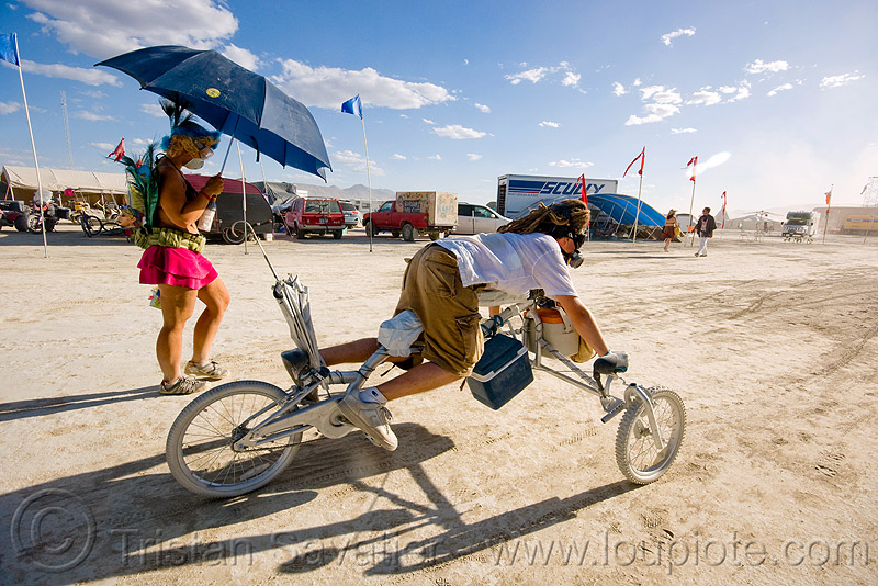 push-up trike - tricycle - burning man 2009, push-ups, umbrella