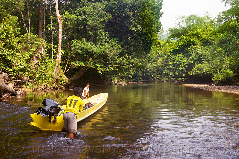 pushing a boat in the shallow waters of sungai melinau river - mulu (borneo), boatman, boatmen, gunung mulu national park, jungle, melinau river, men, plants, rain forest, river bed, river boat, rocks, shallow river, small boat, sungai melinau, trees, water