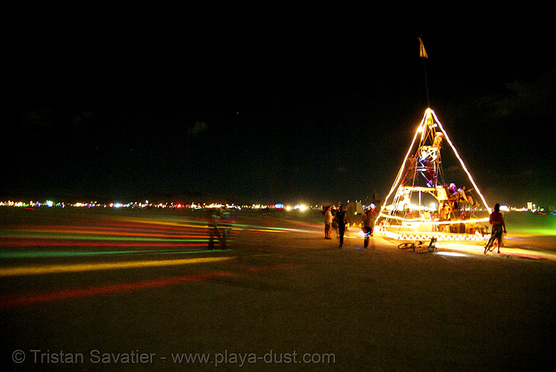 pyramix art  car from camp crazy horse - burning man 2007, burning man, camp crazy horse, night, pyramix, unidentified art car