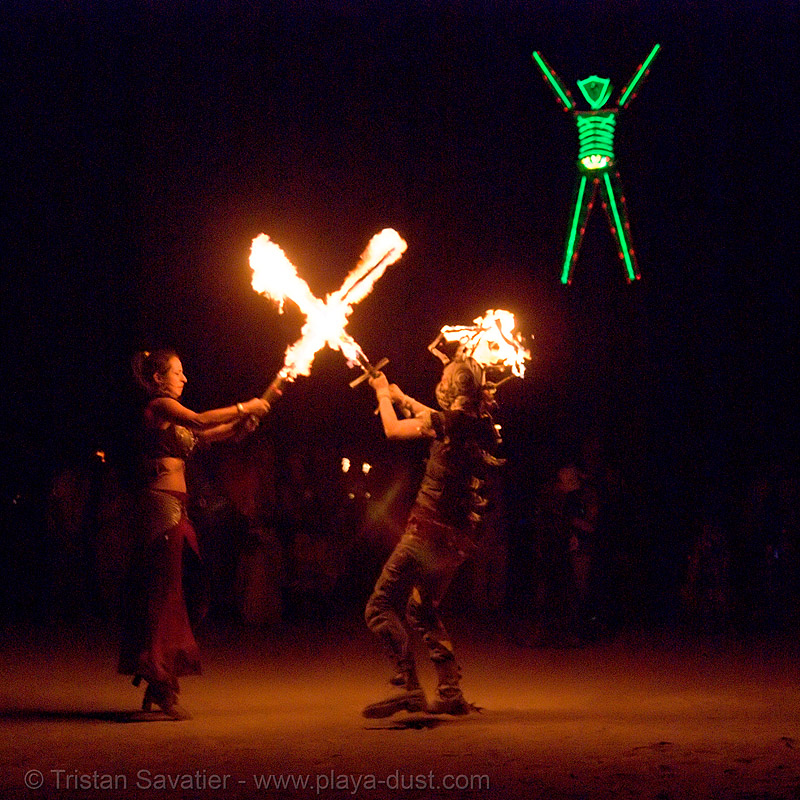 pyronauts of giza - fire conclave - fire swords - burning man 2007, burning man, fire conclave, fire swords, flames, green man, night of the burn, pyronauts of giza, the man
