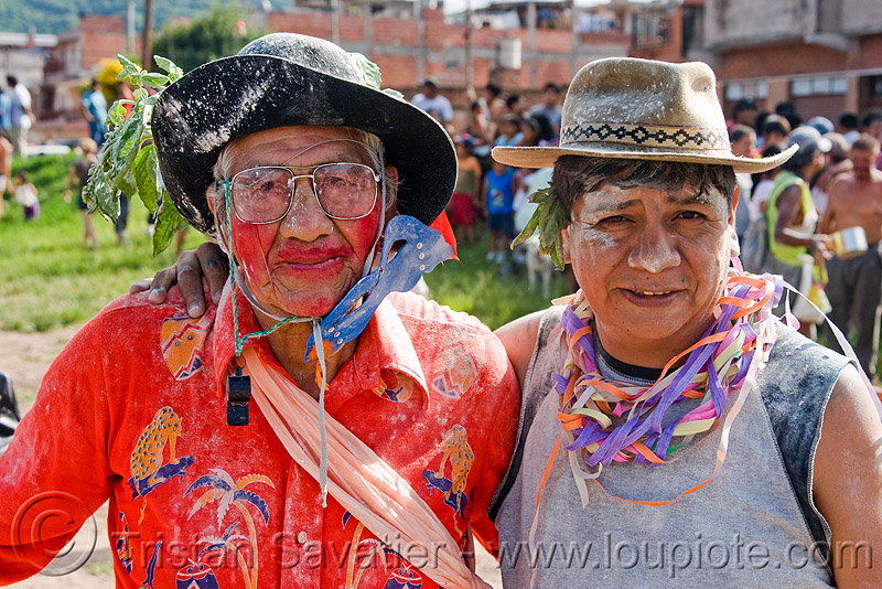 quechua shaman - carnaval - carnival in jujuy capital (argentina), andean carnival, face painting, facepaint, hats, men, noroeste argentino, paint, people, red, san salvador de jujuy