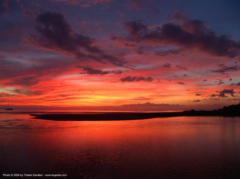 quepos - sunset sky, clouds, costa rica, ocean, red, sea, sunset, water