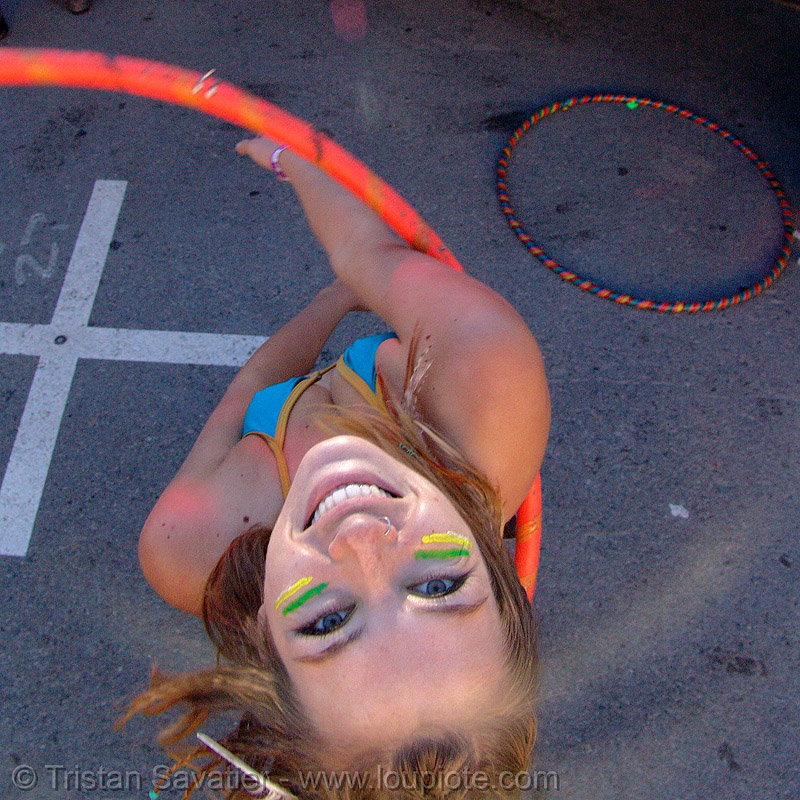 rachel with hula-hoop - burning man decompression 2007 (san francisco), hula hoop, woman