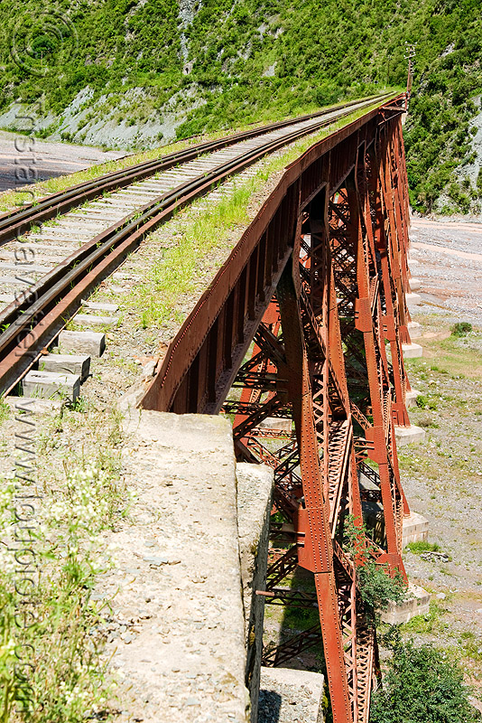guard rails, metric gauge, narrow gauge, noroeste argentino, rail bridge, railroad bridge, railroad tracks, railroad viaduct, railway tracks, rio toro, river, safety rails, single track, steel, tren a las nubes, truss, viaducto del toro