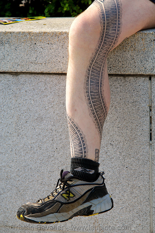 railroad tattoo - leg, darryl, full body tattoos, leg, rail tracks, railroad tattoo, railroad tracks, railway tracks, skin, tattooed, train tattoo, train tracks, tunnel