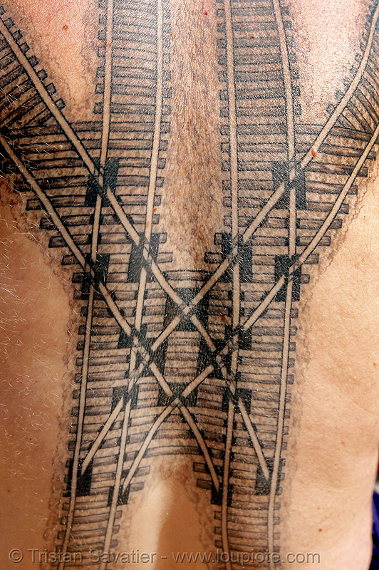 railroad tattoo - train tracks switches, backpiece, coeur de croisement, darryl, full body tattoos, rail frog, rail tracks, railroad switch, railroad tattoo, railroad tracks, railway frog, railway tracks, skin, tattooed, train tattoo, train tracks, tunnel