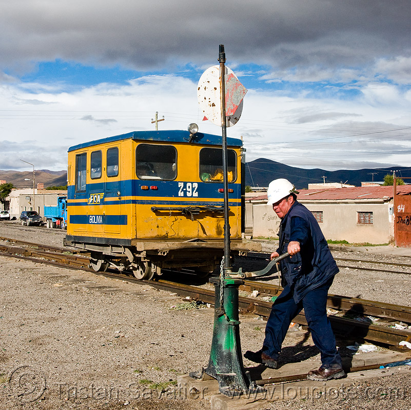 railroad worker maneuvering switch - speeder - uyuni (bolivia), enfe, fca, man, motorized, people, railroad tracks, rails, railway, railway tracks, train, working, z-92