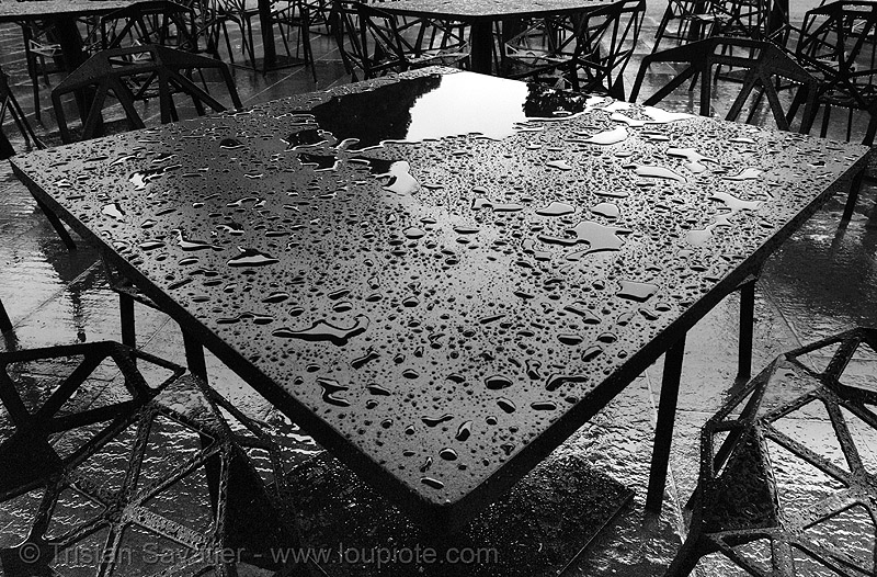rain on black metal table, black, drops, metal, rain, tables, water, wet