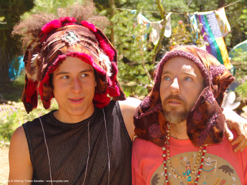 rainbow gathering - hippie hats, hats, hippies, men, rainbow family, rainbow gathering
