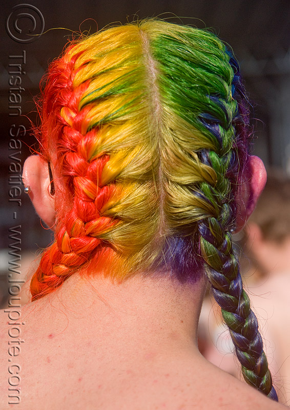 rainbow hair braid, braided, colored, folsom street fair, hair color, man, people, rainbow colors