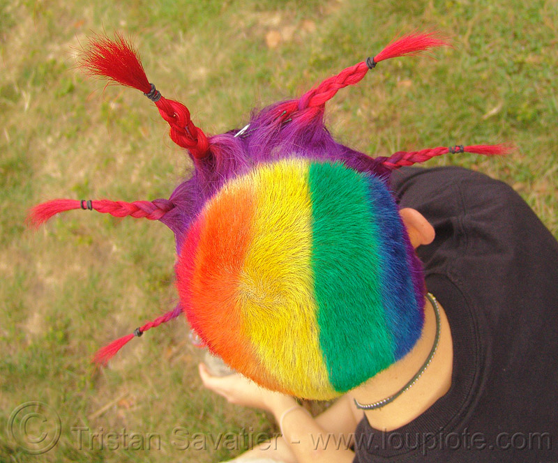 rainbow hair - short with braid spikes, braid, colorful, dani, gay pride festival, rainbow colors, rainbow hair, short