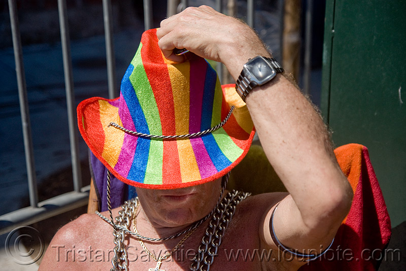 rainbow hat - dore alley fair (san francisco), man, people, rainbow colors, wrist watch