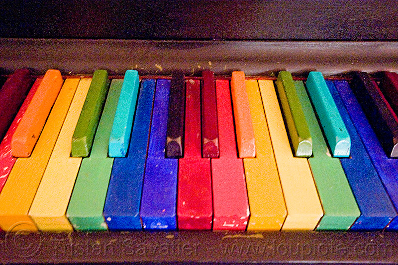 rainbow piano keys, piano keyboard, rainbow colors, twinspace continuum