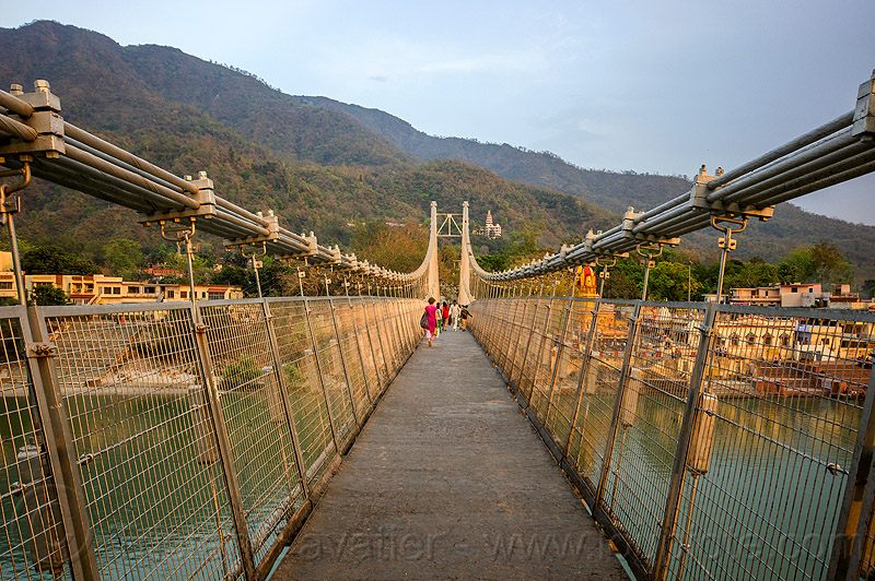 ram jhula suspension bridge over ganges river in rishikesh (india), cables, footbridge, ganga, ganga river, hills, infrastructure, people, steel, vanishing point, water