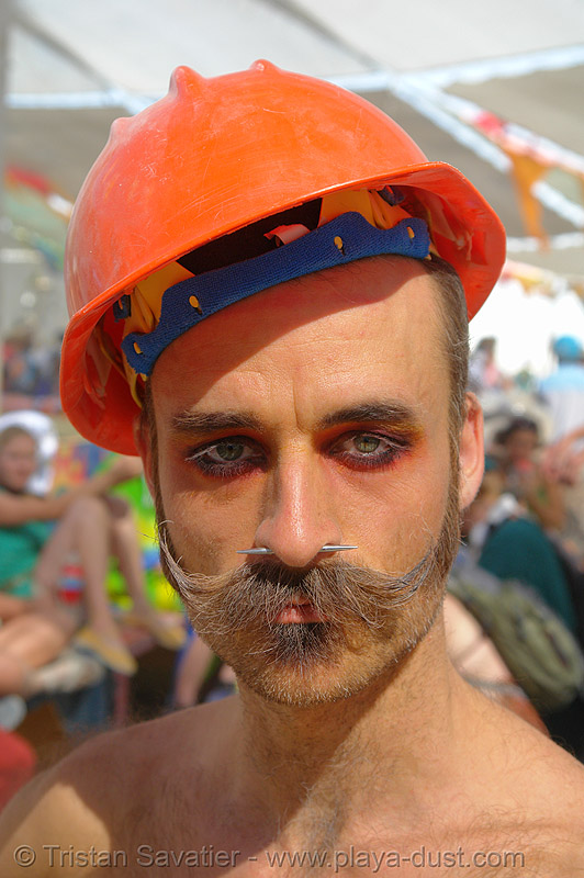 randal the furtographer - burning-man 2006, beard, burning man, center camp, eye makeup, helmet, moustaches, mustaches, nose piercing, people, safety helmet, septum piercing