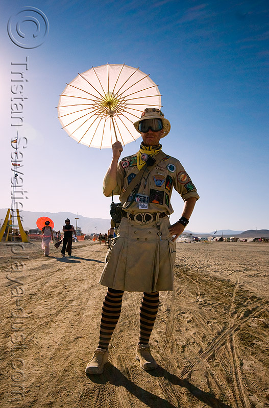ranger with umbrella - ranger hollywood - burning man 2008, backlight, black rock ranger, brc ranger, man, ranger hollywood, umbrella