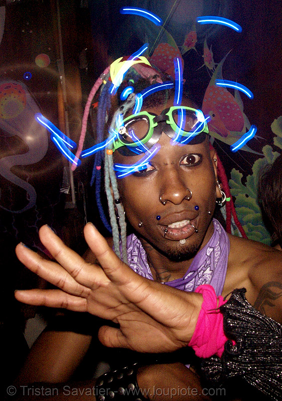 rave LED-lights - raver, african american man, black man, glowing, ignition party, led lights, lightshow, long exposure, night, penny, people, rave lights, rave party, raver outfits