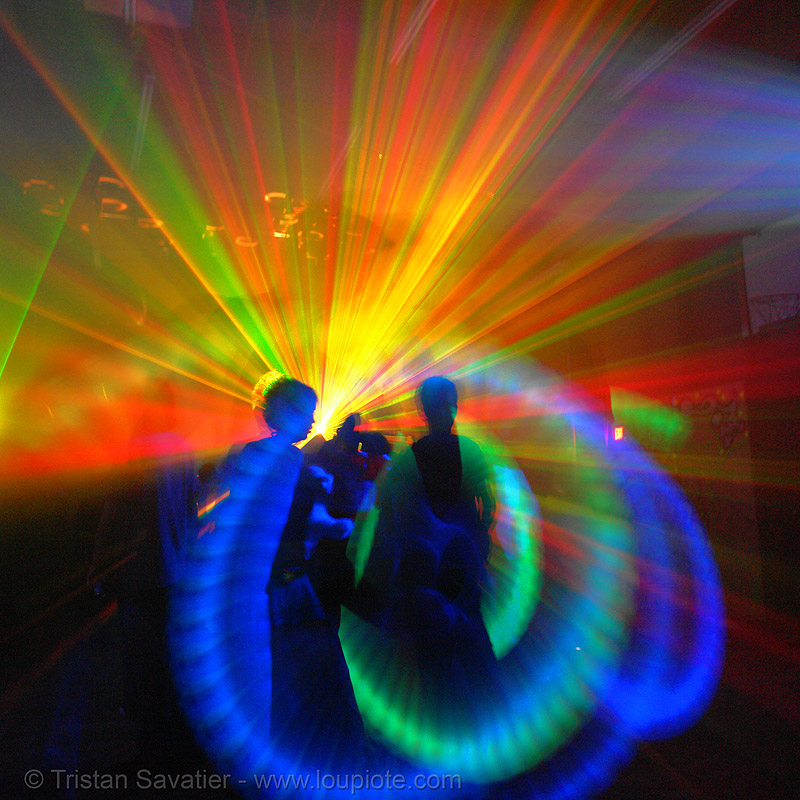 rave party (san francisco), backlight, glowing, laser lightshow, laser show, lasers, led lights, night, nightclub, nightlife, rave lights, ravers, silhouettes