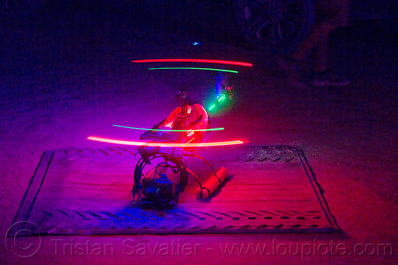 RC heli shooting aerial video - copter kids - burning man 2012, chopper, copter kids, drone, filming, flying, heli, landing pad, led lights, night, rc camera, remote controlled camera, remote controlled helicopter, single rotor, uav, unmaned aerial vehicle, video camera