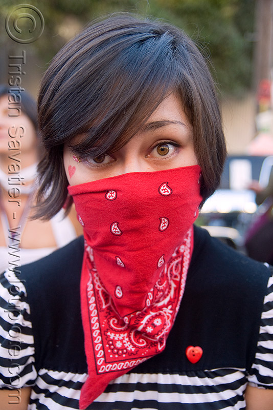 red bandana - masked girl, burning man decompression, mask, people, woman