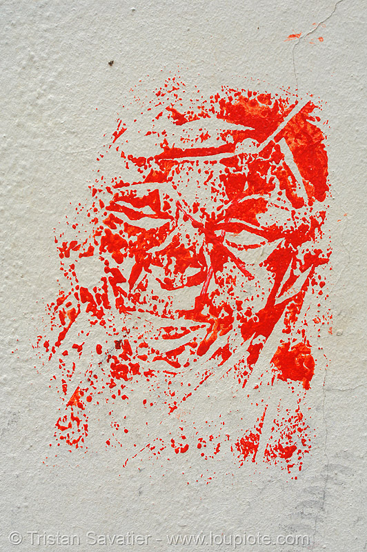 red block-print graffiti, block, blockprint, bloody, graffiti, paris, print, red, street art, wall, white