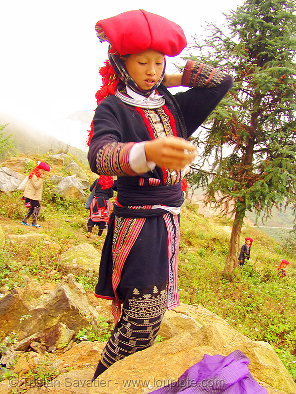 red dao tribe girl - vietnam, asian woman, asian women, dzao tribe, headwear, hill tribes, indigenous, necklace, red dao tribe, red hat, red zao tribe, sapa, tribe girls, turban, yao tribe