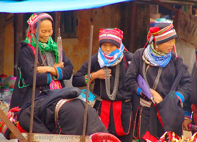 red dao tribe women - vietnam, asian woman, asian women, chainmail necklaces, colorful, dao, dzao, hat, headdress, hill tribes, indigenous, quản bạ, tám sơn, vietnam, yao