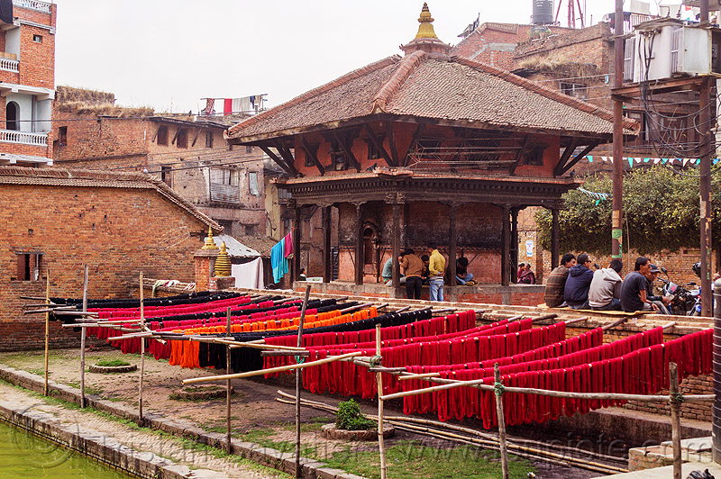 red dyed cotton skeins drying on sticks (nepal), bhaktapur, drying, dyed, hinduism, pati, red, shrine, skeins