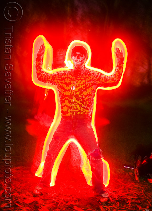 red ghost silhouette, full moon party, ghost, golden gate park, light drawing, light graffiti, light painting, night, red light, silhouette