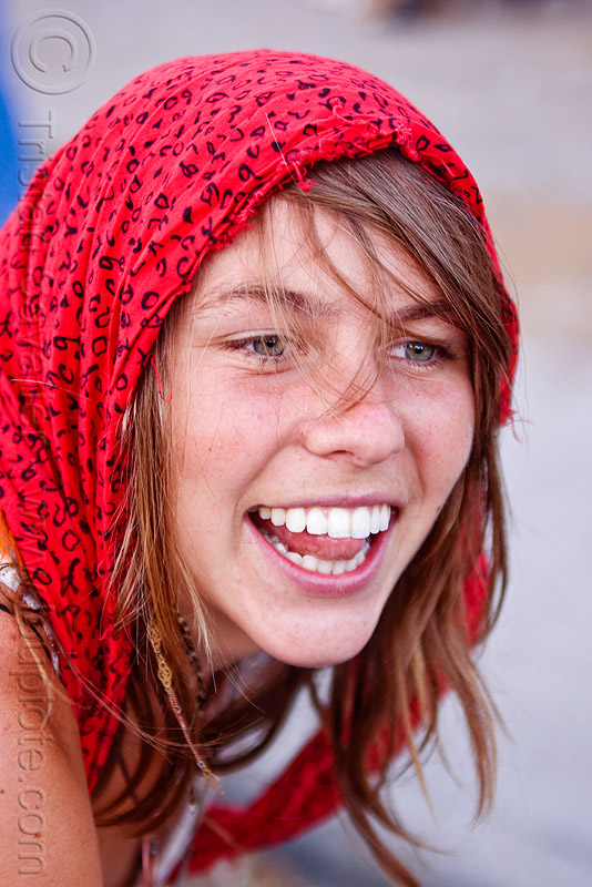 red head scarf, burning man decompression, desdemona, people, red scarf, woman