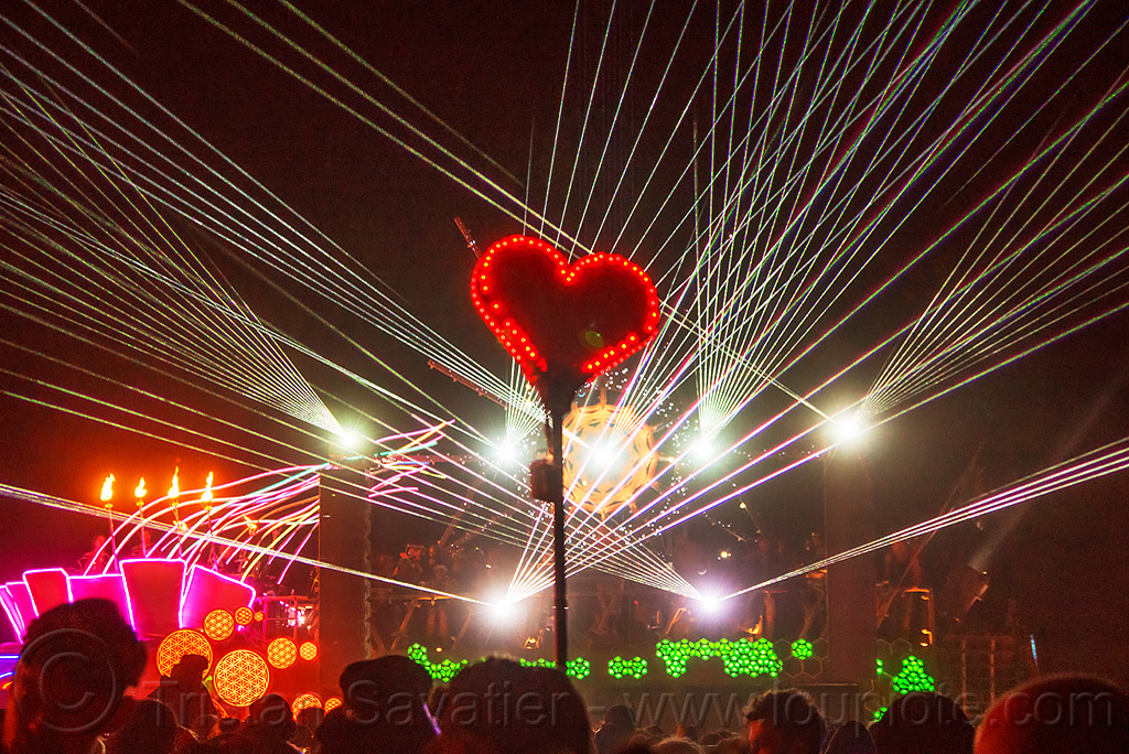 red heard on stick glowing in the night - white lasers - burning man 2016, burning man, dancing, night, unidentified art car, white lasers