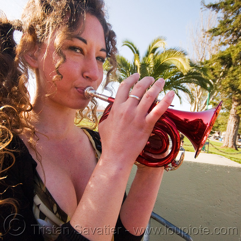 red piccolo trumpet, brass, dolores park, music, musician, people, playing music, small trumpet, valerie, woman