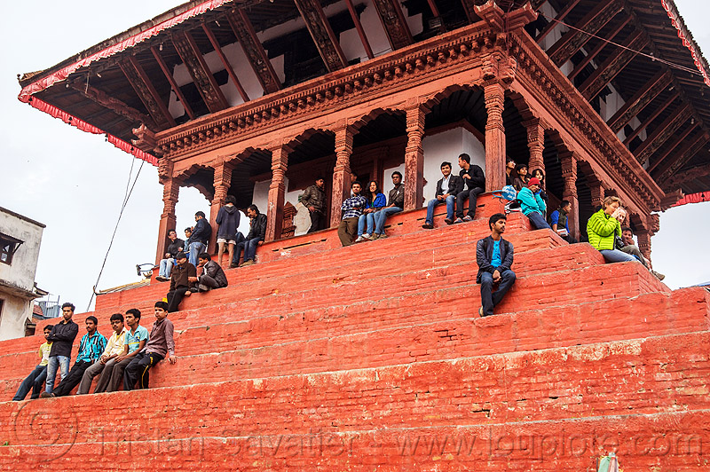 the red pyramid of maju deval temple in kathmandu (nepal), durbar square, hindu temple, hinduism, people