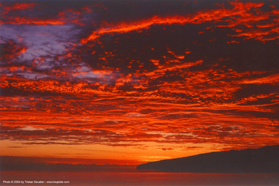 red sunset sky over the ocean, high clouds, indian ocean, red, sea, socotra island, south yemen, sunset, water