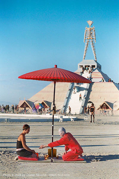 red tea ceremony by ken hamazaki - burning-man 2003, art installation, burning man, greentea, japan, japanese tea ceremony, ken hamazaki, pyramid, red tea ceremony, red umbrella, the man