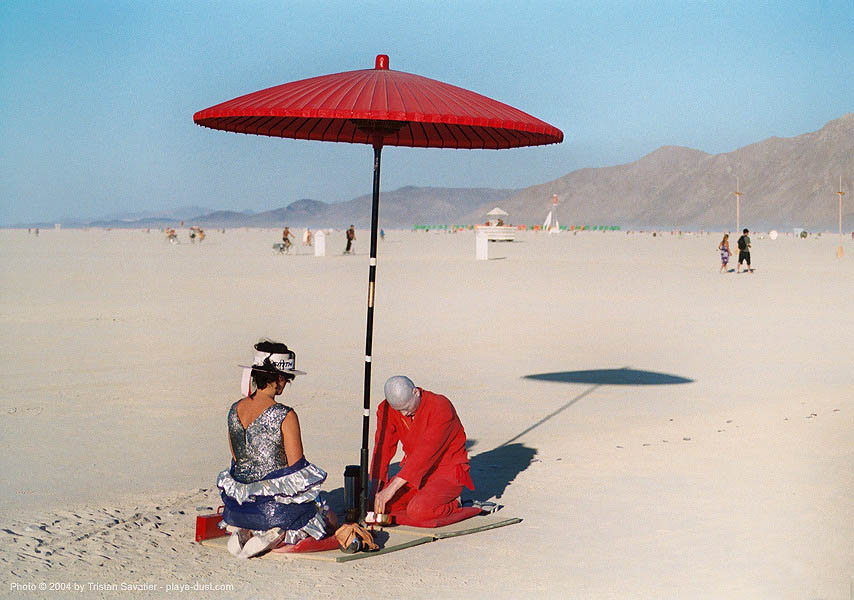 red tea ceremony by ken hamazaki - burning-man 2003, art, burning man, greentea, japan, japanese tea ceremony, ken hamazaki, red tea ceremony, red umbrella