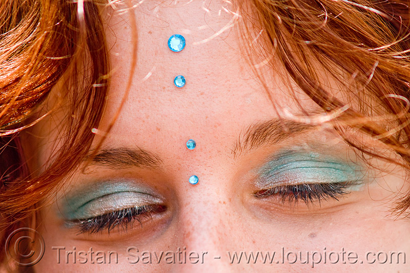 redhead - blue bindis - closed eyes - yulia (san francisco), bindis, eye shadow, eyes closed, how weird festival, makeup, red hair, redhead, woman, yulia