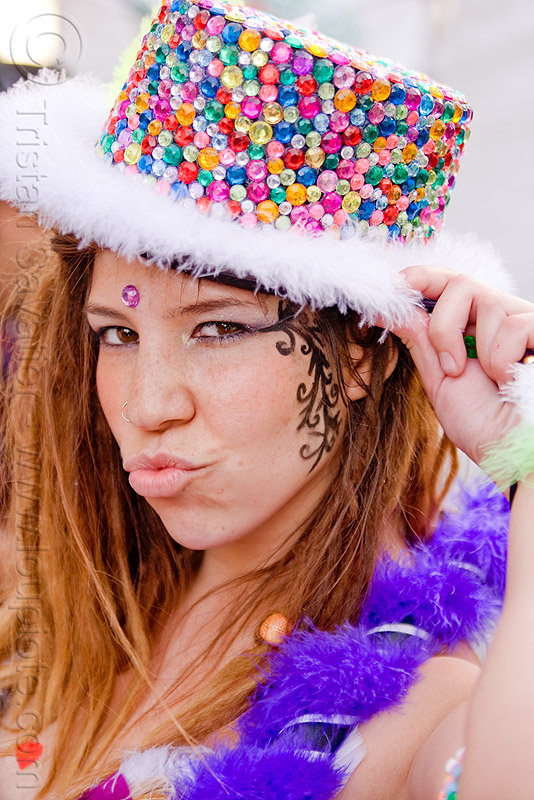 rhinestone party hat, carnival hat, festival, how weird festival, melanie, people, rhinestone hat, woman