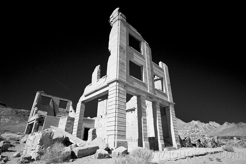 rhyolite ghost town, bank, building, death valley, desert, rhyolite ghost town, ruins